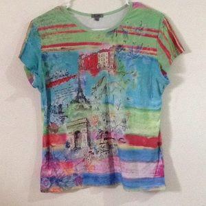 L Paris stretchable tee shirt short sleeve